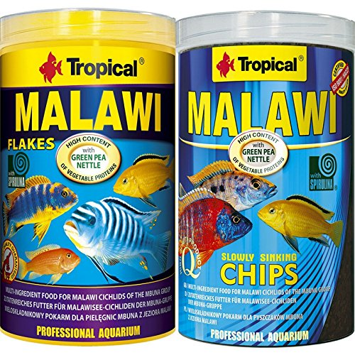 Tropical 1 Liter Malawi Chips + 1 Liter Malawi Flocken Doppelpack 2 er Set Cichlid Malawi Fischfutter