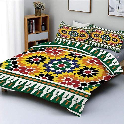 Juego de funda nórdica, vibrante patrón tribal africano indie de la vieja moda con estampado de influencias orientales Juego de cama decorativo de 3 piezas con 2 fundas de almohada, verde amarillo, el