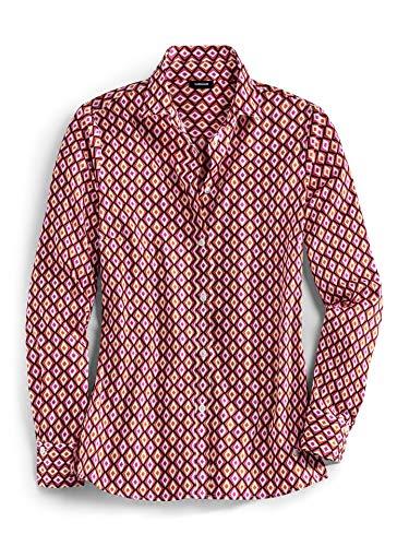 Walbusch Damen Hemd Ultrastretchbluse Gemustert Grafik Rot 44 - Langarm