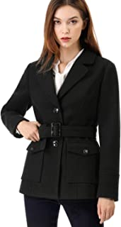 Allegra K Women's Notched Lapel Jacket Belted Single Breasted Classical Winter Pea Coat