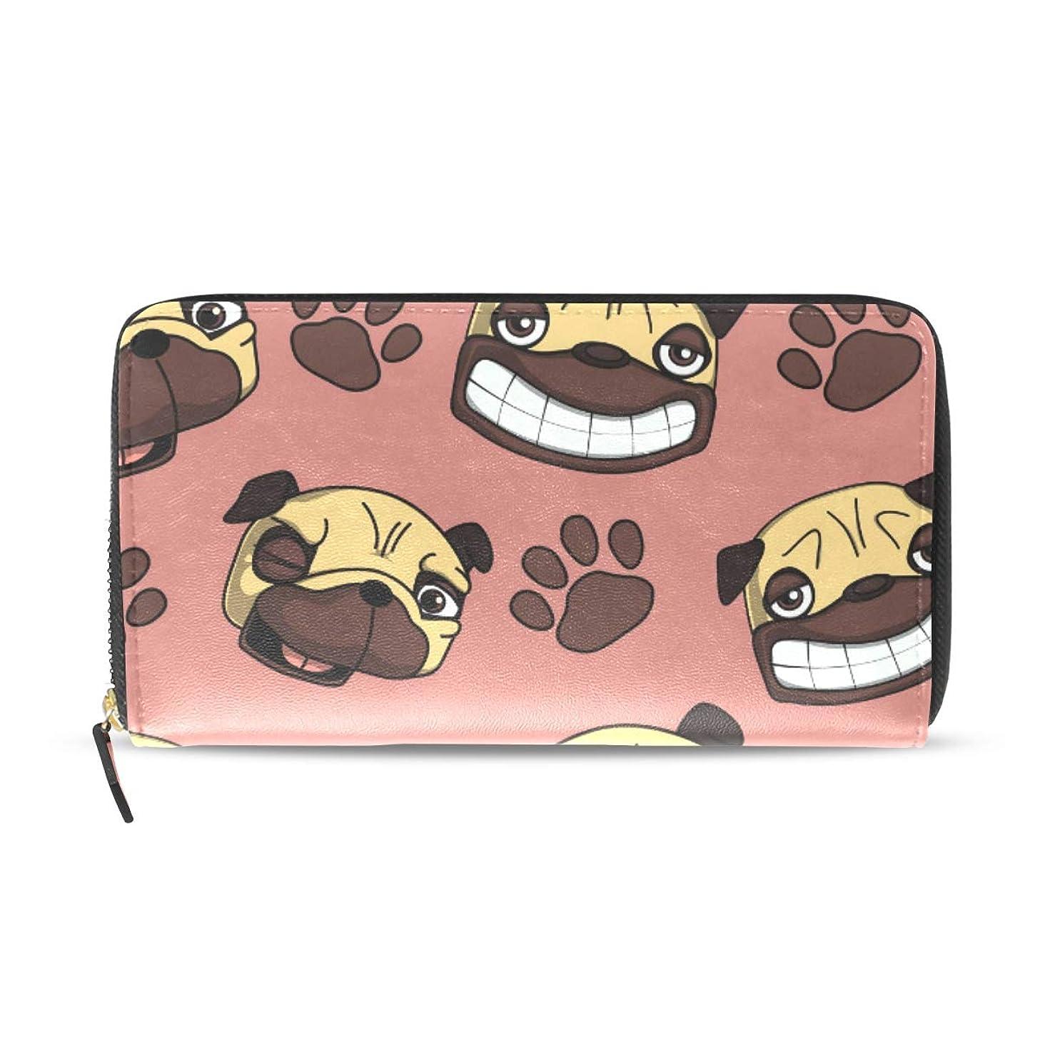 真鍮最終スリップシューズユサキ(USAKI) 長財布 レディース 犬柄 可愛すぎる パグ いい表情 足跡 ピンク 大容量 レザー ラウンドファスナー おしゃれ コインケース プレゼント