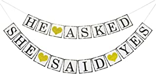 He Asked She Said Yes Gold Glitter Banner - Engagement Bridal Shower Wedding Party Decorations -NO DIY Required