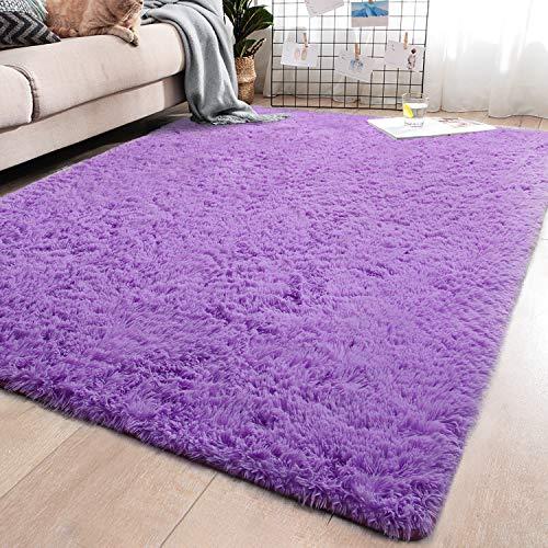 YJ.GWL Soft Shaggy Area Rugs for Bedroom Fluffy Living Room Rugs Anti-Skid Nursery Girls Carpets Kids Home Decor Rugs 3 x 5 Feet Purple