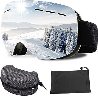 DANXIAN Skidglasögon för kvinnor och män, skidor snowboard glasögon OTG dubbelt glas UV-skydd anti-dimma skidglasögon hjäl...