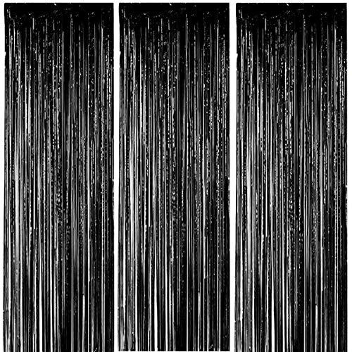 ONUPGO 3 Stück Schwarz Folienvorhänge Fransen, 1 m x 3 m, glänzendes Metallic-Lametta-Vorhang für Neujahr, Fotokabine, Türvorhang, perfekt für Geburtstag, Hochzeit, Weihnachten, Party-Dekorationen