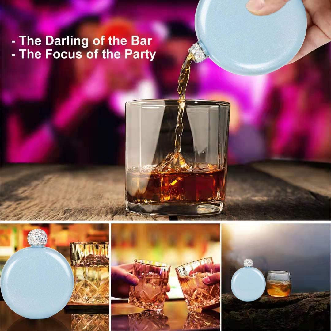 Booze Shot Flask Wine Flasks with Rhinestone Cap Portable Alcohol Flask Chic Drink Flasks for Women Girls Party Gift,Travel Hiking and Street Capacity 5 oz with Steel Funnel