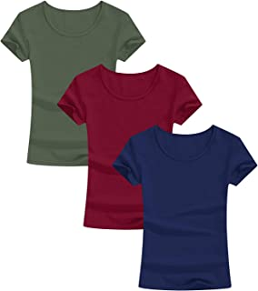 Amoretu Womens Scoop Neck Short/Long Sleeve Tee Tops Cotton T-Shirts Blouses