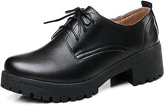 [Star] オックスフォード レースアップ 革靴 ブーティ おじ靴 レディース シューズ 通勤 通学 レディース 靴