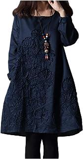 [シオン] 秋色 チュニック 長袖 定番 シンプル 柄 ゆったり ワンピース レディース M~XL