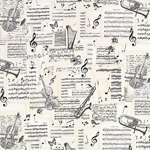 Canvas Notenblätter – beige — Meterware ab 0,5m — zum Nähen von Outdoor Deko, Kissen/Tagesdecken und Tischdekoration
