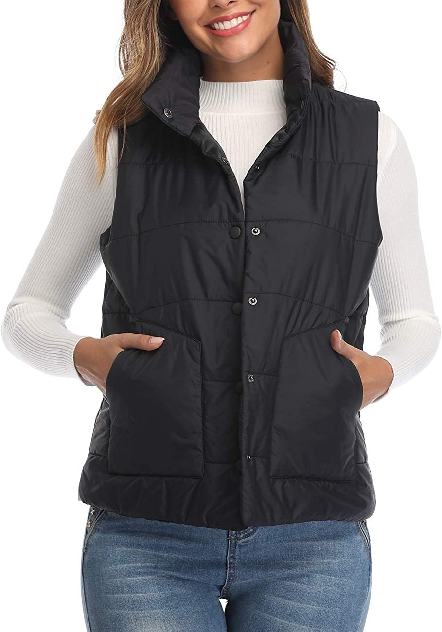 Dilgul Womens Lightweight Quilted Vest Button UP Stand Collar Pa