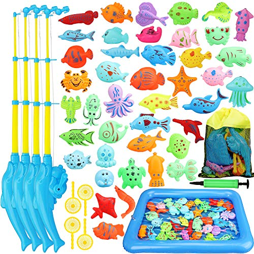 TOY Life Magnetic Fishing Game for Toddlers with 4 Toy Fishing Pole Floating Toy Fish, and Inflatable Play Area - Fishing Bath Toy Outdoor Fishing Toys - Bath Toy for 3 4 5 Boys Girls Toddlers