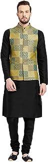 KISAH Men's Art Silk Kurta Pyjama with Waist Coat
