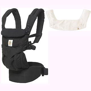 Ergo Baby Omni 360 一體人體工程學嬰兒背帶帶出牙墊和圍嘴 - 純黑/自然色