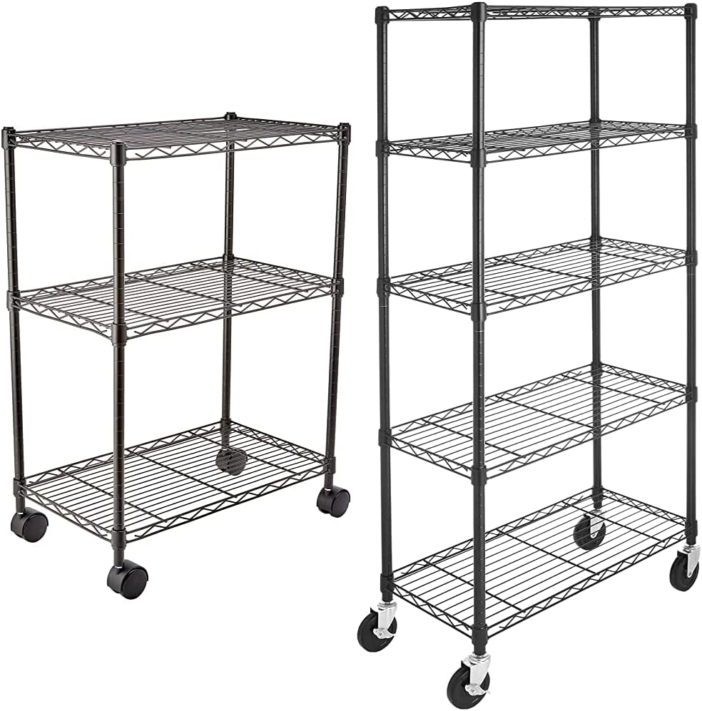 AmazonBasics 5-Shelf Shelving Storage 通販 激安◆ 定番スタイル Unit Casters 4'' on Wheel