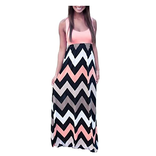 ac344a86ea7 Aifer Womens Boho Chevron Striped Empire Tank Top Long Dress Beach Maxi  Dresses