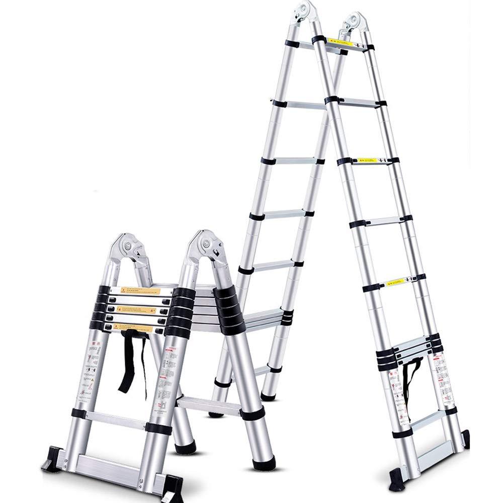 ZR- Escalera Telescópica Multifuncional Bricolaje Aleación De Aluminio Escalera De Marco A Escalera Recta Plegable Escalera De Extensión, Capacidad De Carga 330lbs -Fácil de almacenar y fácil de lleva: Amazon.es: Hogar