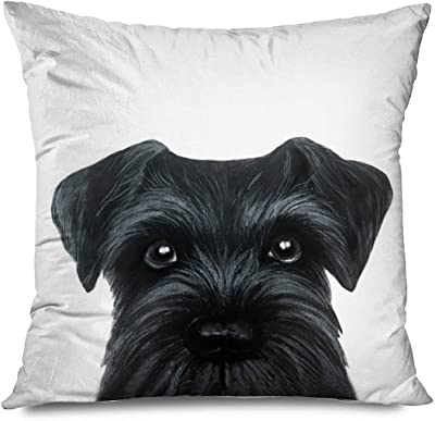 Hgod Designs Cushion Cover Black Schnauzer Original Painting Dog Puppy Throw Pillow Case Home Decorative For Men Women Living Room Bedroom Sofa Chair 18x18 Inch Pillowcase 45x45cm Amazon Co Uk Kitchen Home
