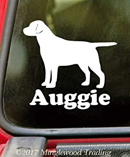"""Minglewood Trading - White - Labrador Retriever with Personalized Name 4"""" x 4"""" Vinyl Sticker - Straight Tail - Lab Dog Puppy - 20 Color Options"""