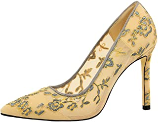 BalaMasa Womens APL12225 Pointed-Toe Comfort Wedding Yellow Pu Heeled Sandals - 4 UK (Lable:37)