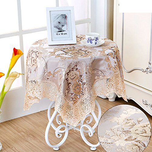 fgdjtyyj Manteles para Mesa de Centro,Encaje Costura manteles Bordados de Elegantes Flores para rectángulo Redondo Mesa Cuadrada de Comedor TV Mueble Escritorio-E 80x80cm(31x31inch)