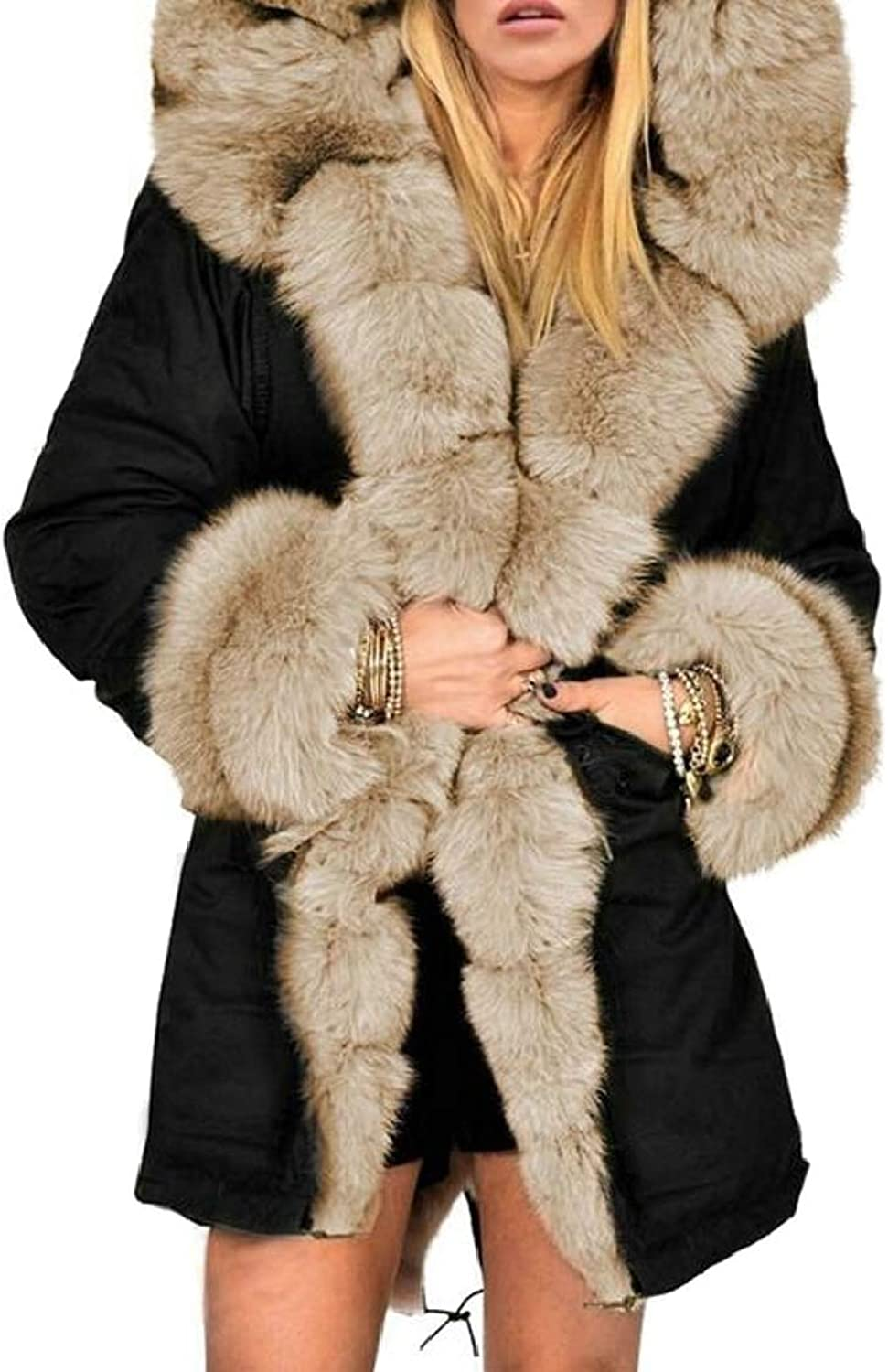 Women's Overcoat FauxFur Collar Long Length Hooded Down Jacket Coat