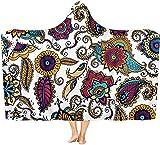 Coperta con cappuccio fiore indossabile coperta calda mantello scialle coperta coperta adatta per bambini, adulti e adolescenti 50x40 inch
