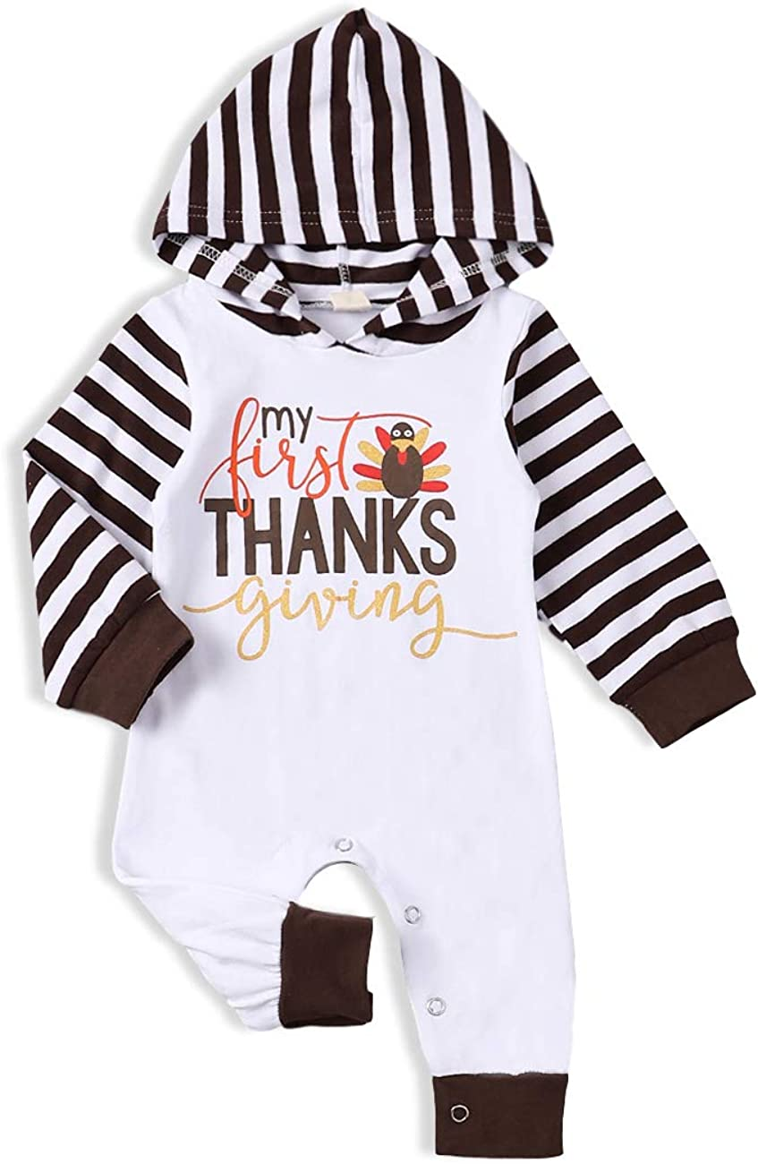 My 1st Thanksgiving Newborn Baby Boy Girl Clothes Long Sleeve Romper Bodysuit Outfit Set