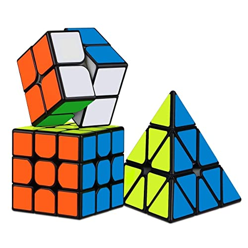 D ETERNAL Rubiks Cube 2X2 3x3 and Pyraminx Triangle Rubix Cube High Speed Magic Rubic Cube Brainstorming Puzzle Cubes Combo Game Toy