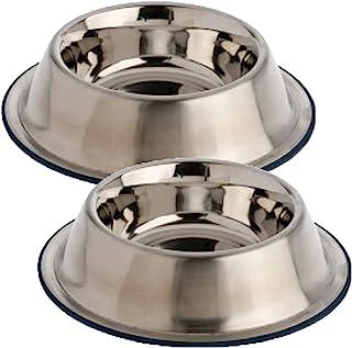 Our Pets DuraPet Premium No-Tip Stainless Steel Pet Bowls, Medium (2 Pack)