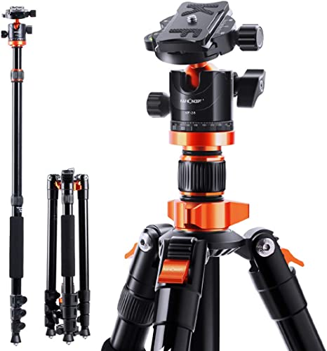 K&F Concept Trepied Appareil Photo Monopode en Aluminium 200cm avec Rotule Panoramique 360° pour Camera Camescopes Ch...