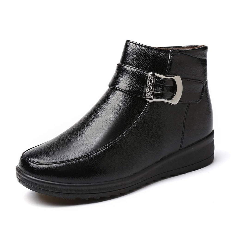 ショートブーツ レディース 婦人靴 冬用 ウィンターブーツ 防寒 防水 あったか 防滑 安全性 サイドジップ クッション性 履きやすい 歩きやすい 保温 快適 シニアムートン カジュアル レザー ブラック ブラウンレッド 25.5cm