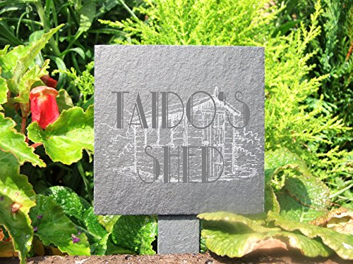 Slate plant marker - 'Taido's Shed' - a fun addition to any garden