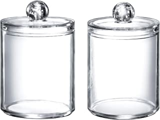 Qtip Dispenser Q-tip Holder Apothecary Jars Bathroom,Premium Quality Clear Plastic Acrylic Container for Q-Tips,Cotton Swa...