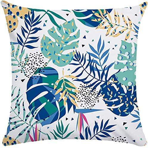 Fundas de almohada de 45,7 x 45,7 cm, estilo nórdico, estampado botánico, funda de cojín suave para el hogar, sofá, cama, silla, coche, oficina, decoración