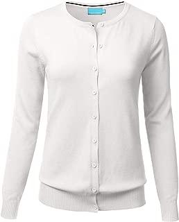 FLORIA Women Button Down Crew Neck Long Sleeve Soft Knit Cardigan Sweater (S-3X)