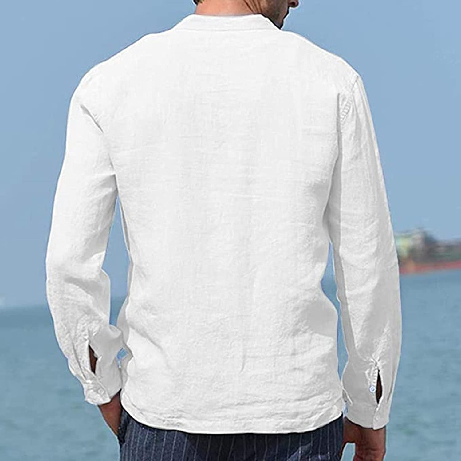 Rela Bota Men's Fashion Cotton Linen Henley Shirts Lightweight Solid Color Casual Beach Shirts with Pocket