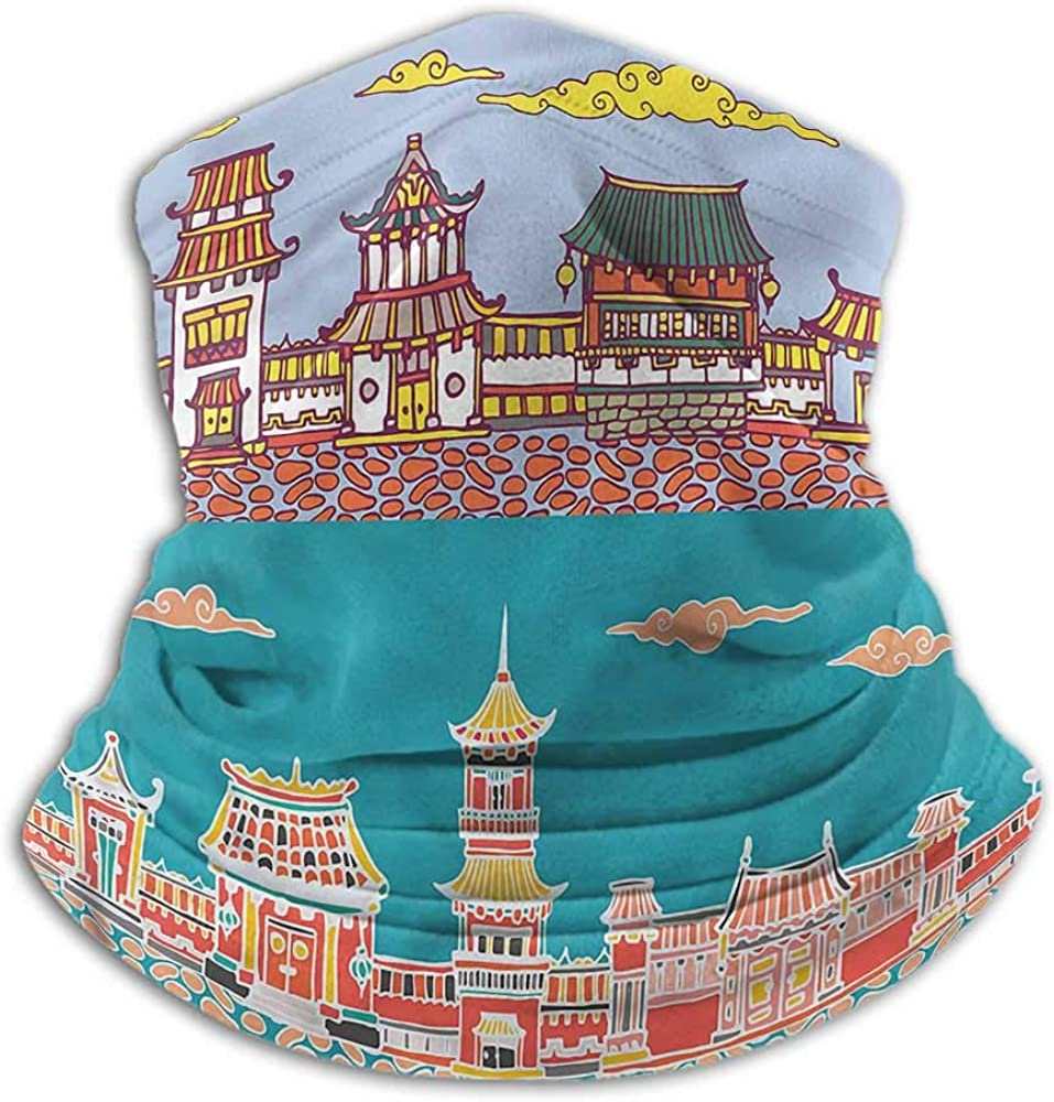Neck Gaiters For Men Ancient China Creative Personality Custom Scarf Eastern Old Towns 10 x 12 Inch