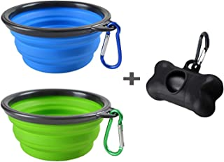 MOGOCO 2 Pack Portable Collapsible Dog Bowl,Foldable Travel Bowl Dish for Pet Dog Cat Food Water Feeding,Including a Black Poop Bag Holder Dispenser and a Roll of Bags