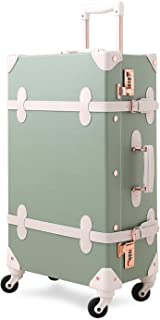 Unitravel Vintage Suitcase 26 inch Retro Rolling Luggage with Combination Lock Spinner Wheels for Women (Matcha Green)