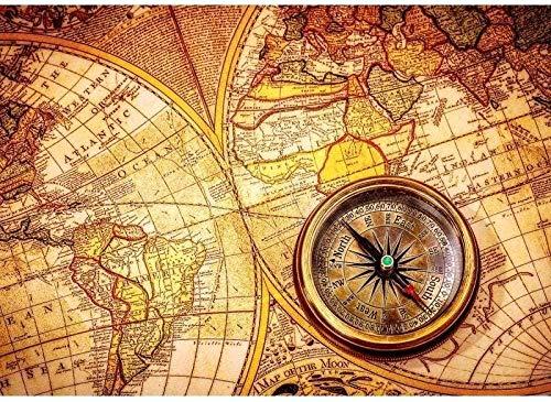 OLB&VNM Puzzles Vintage Weltkarte und Kompass DIY Kinder Lernspielzeug Holz Intelligenz Puzzles 1000 Stück