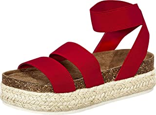 Women's Open Toe Stretch Strappy Chunky Espadrille Flatform Sandal