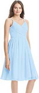 Zhongde Women's A Line V-Neck Ruched Chiffon Bridesmaid Dress Short Party Gown with Pockets