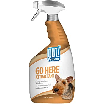 OUT! Go Here Attractant Indoor & Outdoor Dog Training Spray   Housetraining Aid for Puppies and Dogs   32 oz