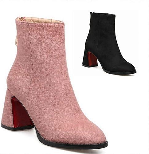 ZHRUI Chaussures pour Femmes - Bottes à Talon d'hiver de 7,5 cm Bottes à Talon épais Pointues Bottes de Grande Taille pour Femme 33-41 (Couleuré   Rose, Taille   38)