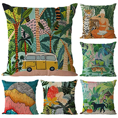 Hodeacc 6 Pcs Tropical Jungle Pillow Covers, Tropical Animal Throw Pillow Cases Tropical Plants Cushion Covers for Sofa Couch Bed Chair,18 x 18 Inch,CASE ONLY