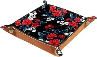 Boîte de rangement en cuir PU carré pour les jeux de table de dés de jeux de clés, porte-monnaie, plateau de bureau, boîte...