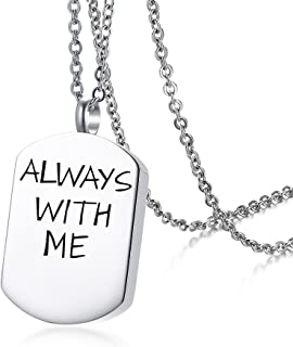 HUANIAN Stainless Steel Simplicity Shape Canister Capsule Memorial Keepsake Pendant Cremation Ash Urn Necklace for Men