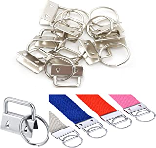 WedFeir 30PCS Key Fob Hardware,Sliver Key Chain Fob Wristlet Hardware with Key Ring for Lanyard, Fabric Hand Craft. (1 Inch)