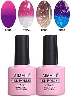 AIMEILI Temperature Color Changing Soak Off UV LED Chameleon Gel Nail Polish Set Of 4pcs X 10ml- Kit Set 8